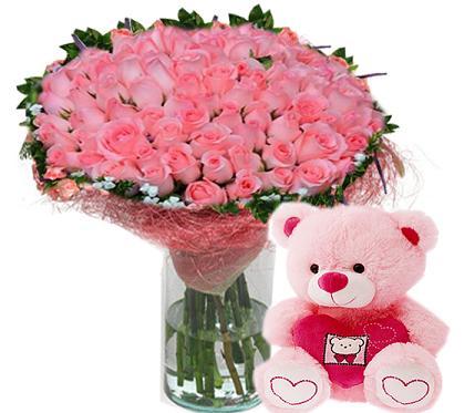 Lovely Pink Rose Teddy